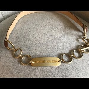VTG! Anne Klein tan and gold chain belt SZ: L